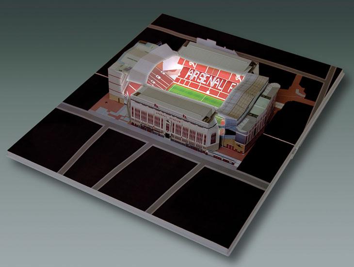 Arsenal Highbury Stadium with floodlights
